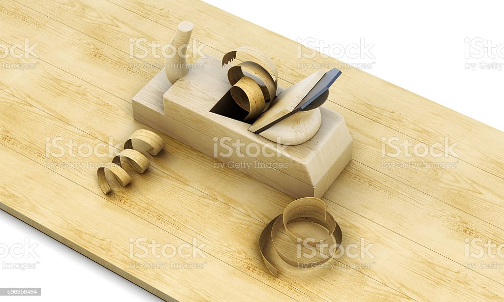 Wooden plane, board and shavings isolated on a white background. royalty-free stock photo