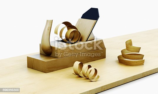 Wooden Plane Isolated On A White Background 3d Render Image Stock Photo & More Pictures of Ancient