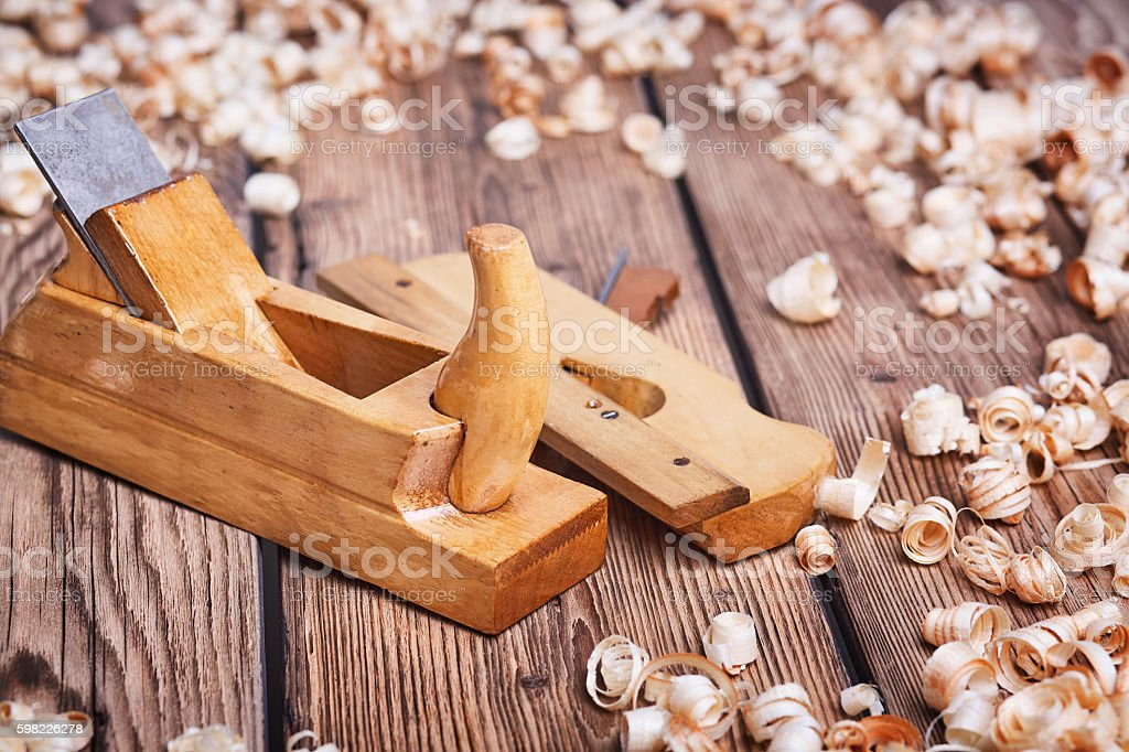 Wooden planes on an old table foto royalty-free