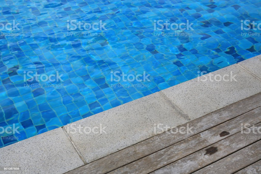 Wooden Plank And Cement Foreground At Swimming Pool Stock ...