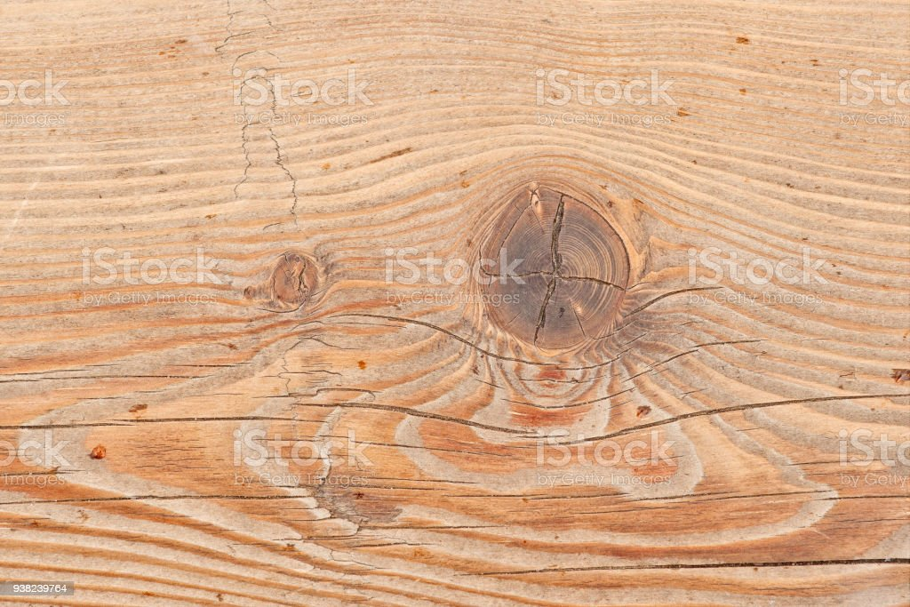 Wooden plank or board with a large knot or snag stock photo