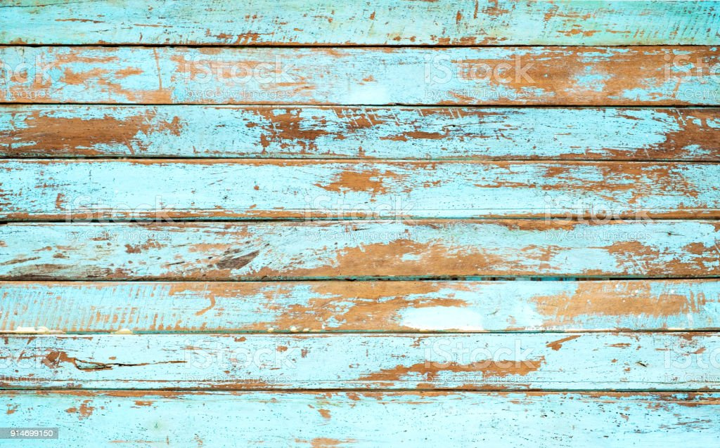 wooden plank painted in blue stock photo
