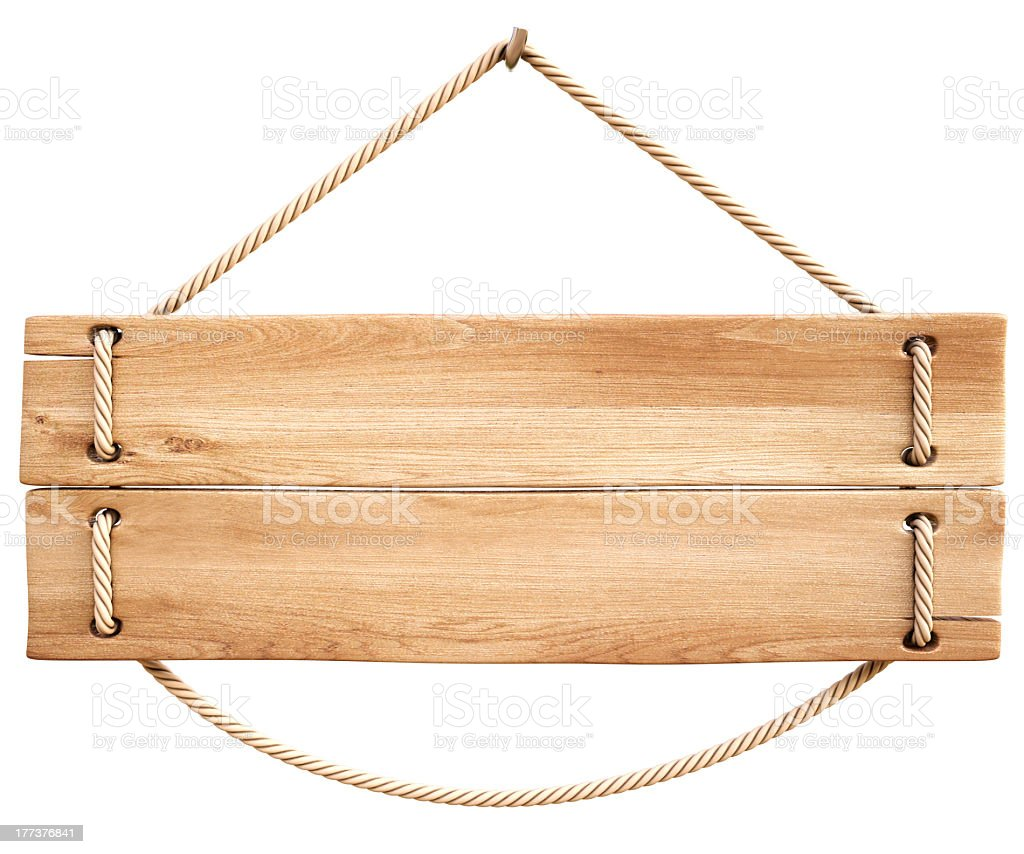 A wooden plank sign held by a rope stock photo