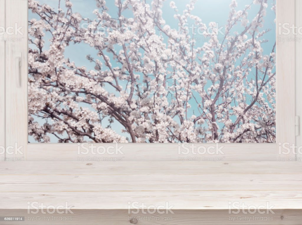 Wooden planks and window with blurred blossom tree in sunlight stock photo