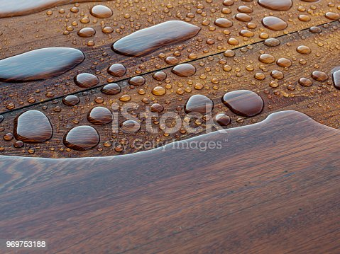 Wood background with water drops