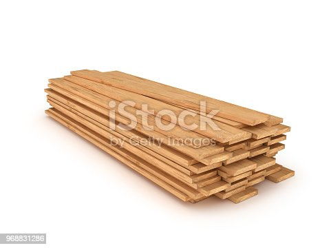 wooden planks isolated 3d illustration