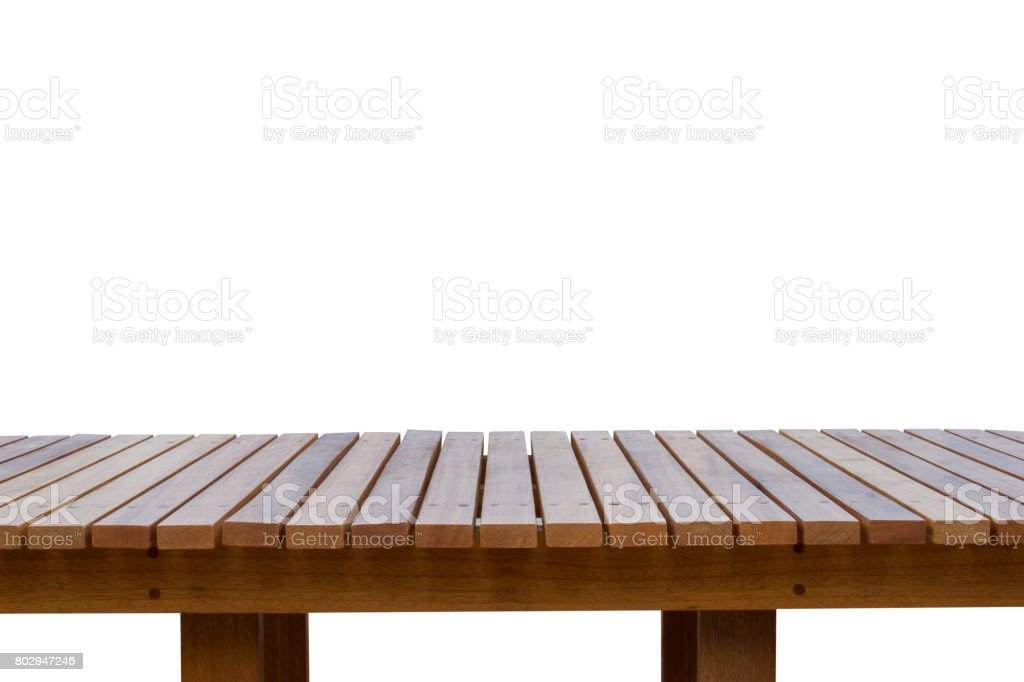Wooden planks or wooden floor isolated on white background. stock photo