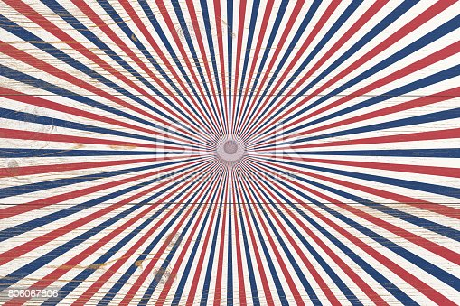 istock wooden planks painted with red and blue radial stripes 806067806