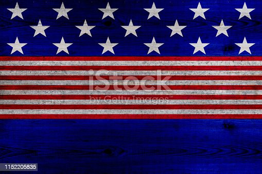 istock wooden planks painted with red and blue stripes and stars 1152205835