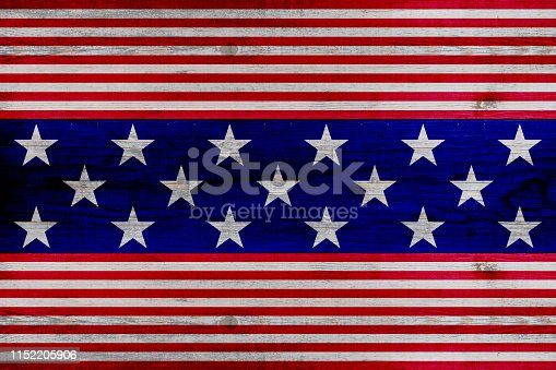 istock wooden planks painted with red and blue stripes and stars 1152205906