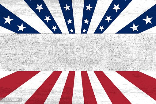 istock wooden planks painted with red and blue stripes and stars 1152205944