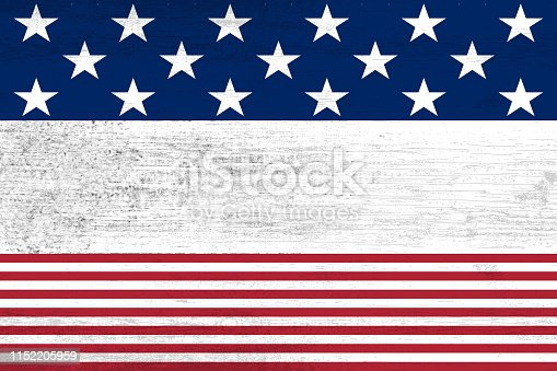 istock wooden planks painted with red and blue stripes and stars 1152205959
