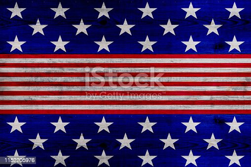 istock wooden planks painted with red and blue stripes and stars 1152205976