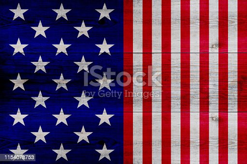 971061452 istock photo wooden planks painted with red and blue stripes and stars 1154078753
