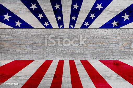 971061452 istock photo wooden planks painted with red and blue stripes and stars 1157357867
