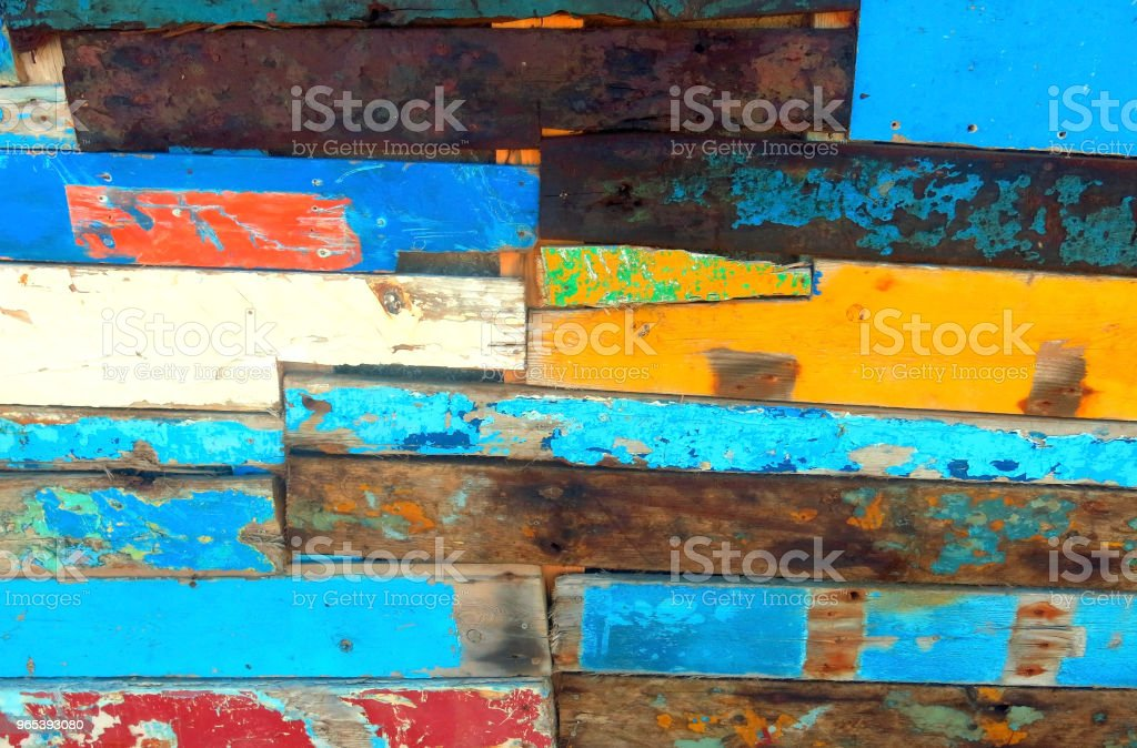 wooden planks with peeling paint royalty-free stock photo