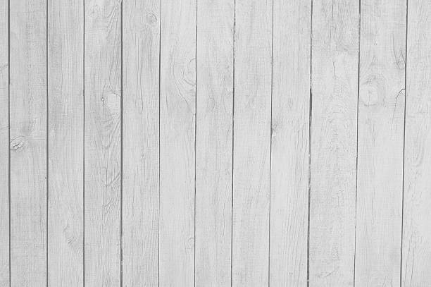 wooden planks, wood background, white, grey - palisade boundary stock photos and pictures