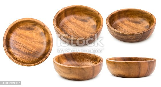 wooden plate, bowl, isolated on white background, clipping path, full depth of field