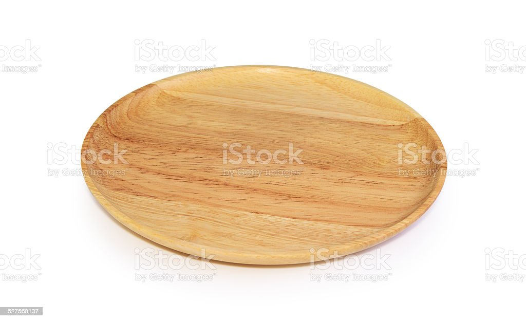 wooden plate isolated stock photo