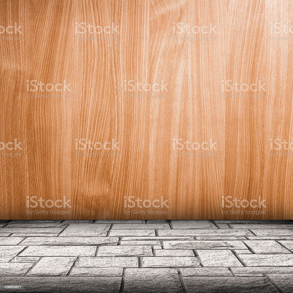 Wooden plate wall and brick floor interior background royalty-free stock photo