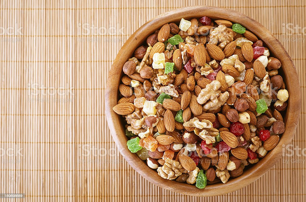 Wooden plate with variety of ingredients royalty-free stock photo