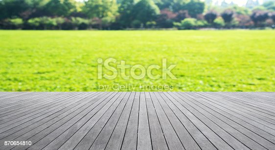 601026242istockphoto Wooden platform and green field abstract background 870654810