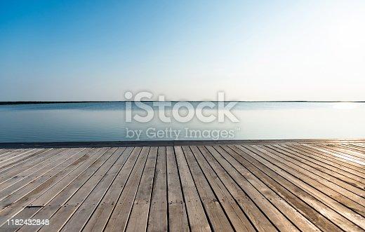 Wooden platform and sea landscape.