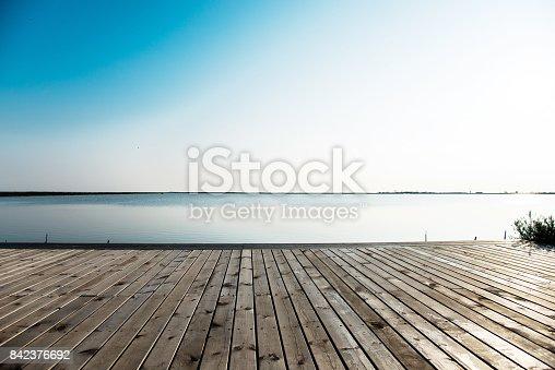 Wooden platform and sea landscape