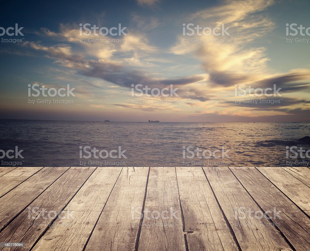Wooden platform and sea stock photo