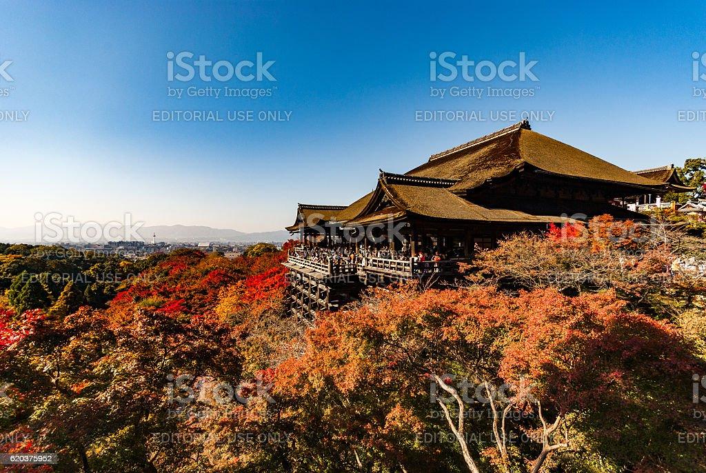 Wooden platform at 'Kiyomizu-dera' temple in autumn zbiór zdjęć royalty-free