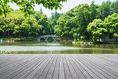 Wooden platform beside lake