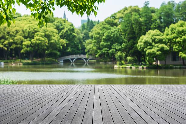 wooden platform beside lake - flod vatten brygga bildbanksfoton och bilder