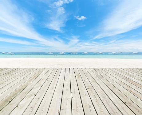 Wooden Platform Beside Summer Tropical Beach