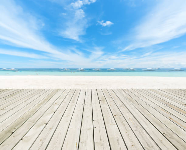 Wooden Platform Beside Summer Tropical Beach Wooden Platform Beside Summer Tropical Beach boardwalk stock pictures, royalty-free photos & images