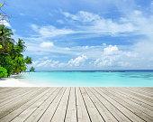 Wooden Platform Beside Tropical Paradise Beach
