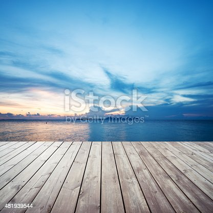 Wooden Platform On Beach With Seascape And Cloudy Sky Stock Photo & More Pictures of 2015
