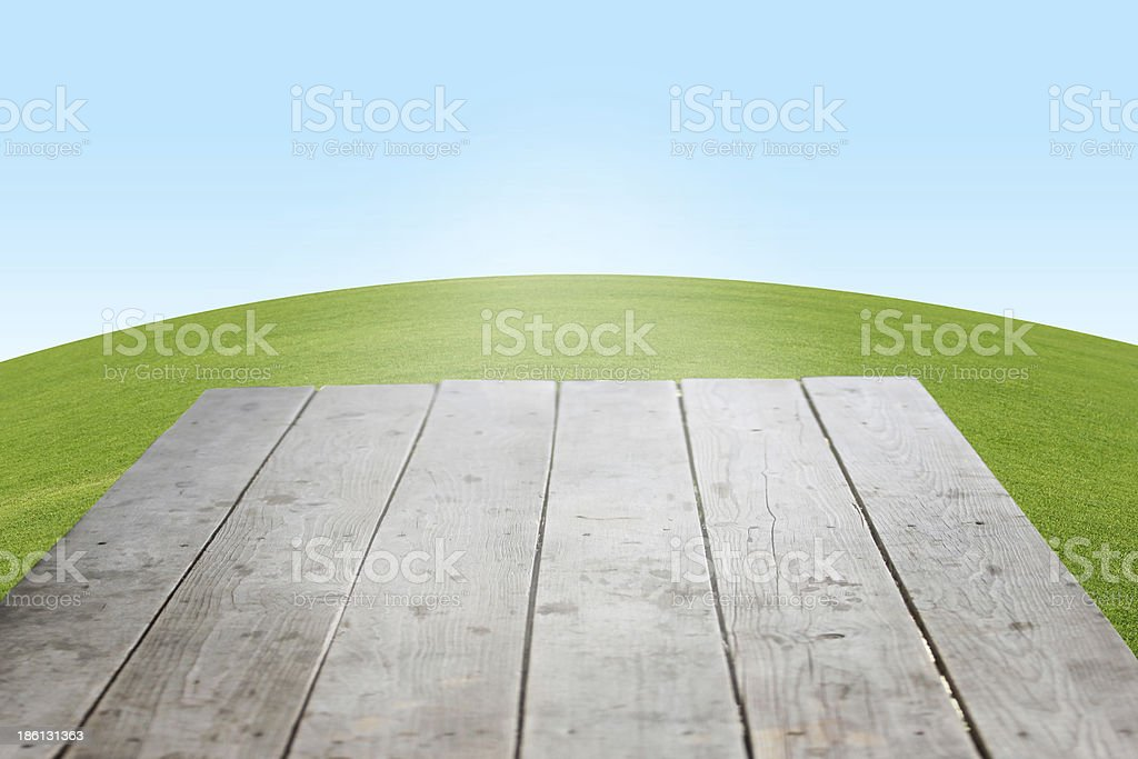 wooden platform stock photo