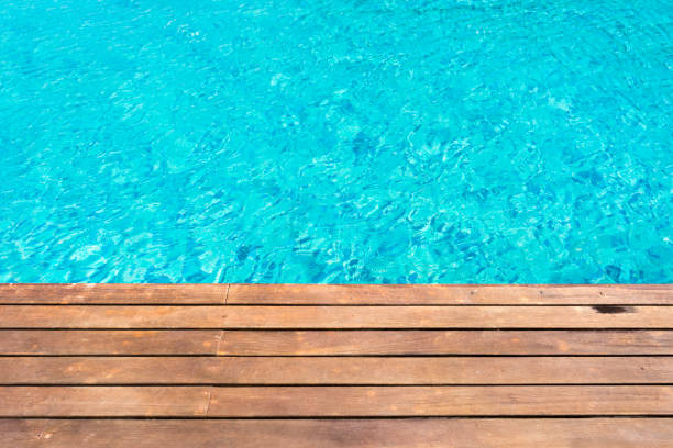 wooden platform -swimming pool background stock photo