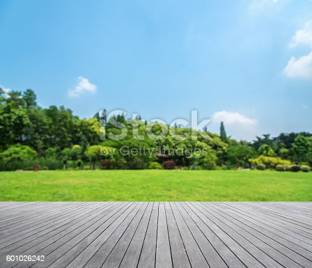 istock Wooden platform with green field defocused abstract background 601026242