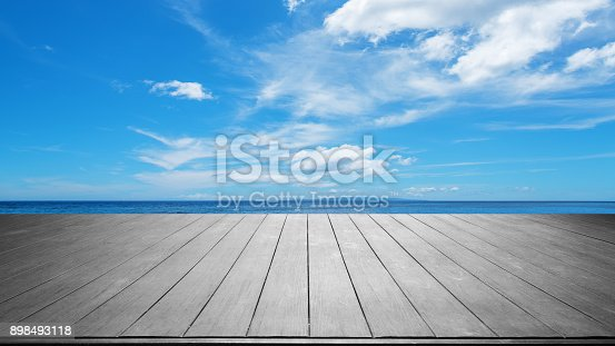 677933036 istock photo Wooden platform with tropical ocean and blue sky background 898493118