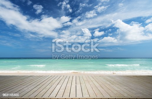 Wooden Platform With Tropical Seascape