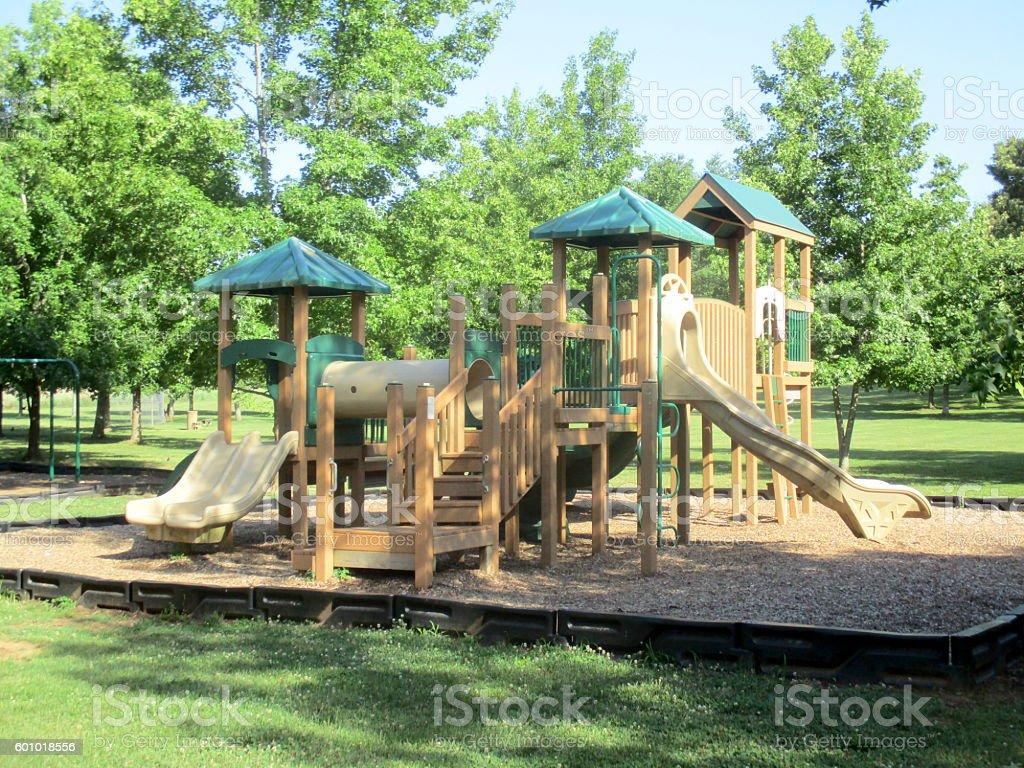Wooden Playground Equipment in Park stock photo