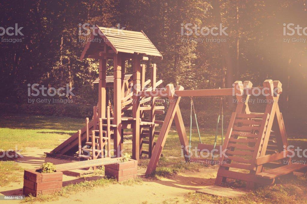 Wooden playground stock photo