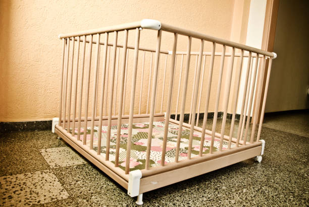 wooden playpen - playpen stock pictures, royalty-free photos & images