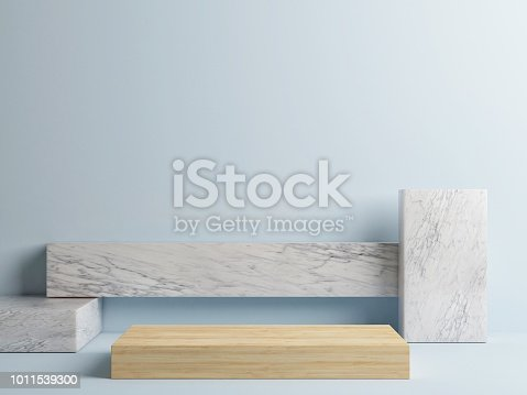 istock Wooden podium abstract minimal geometrical composition 1011539300