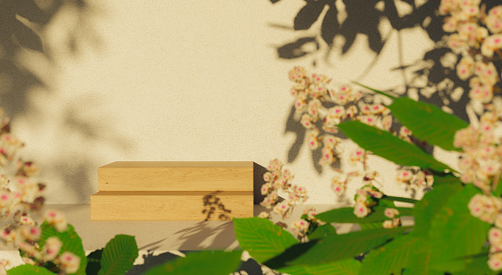 wooden podium surrounded by leaves and flowers