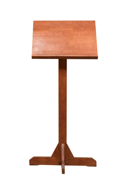 Wooden Podium Tribune Rostrum Stand Isolated on White Background, Clipping path included. stock photo