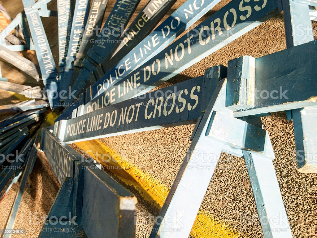 Wooden Police Barriers stock photo