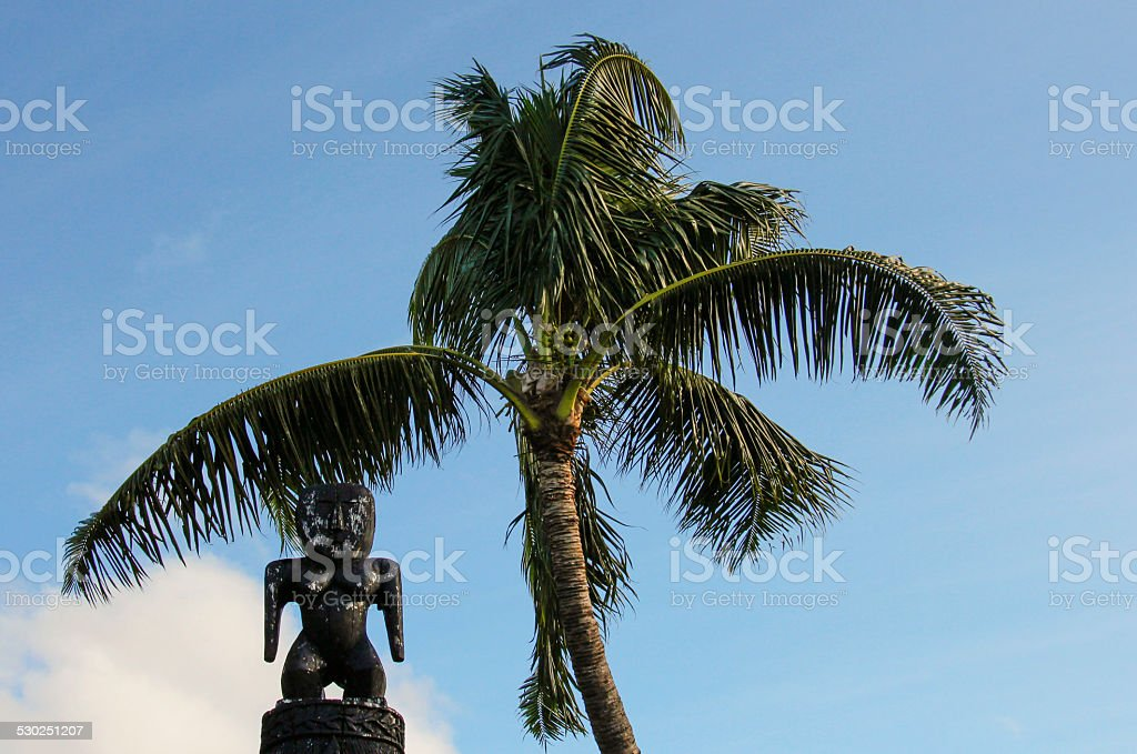 Wooden Polynesian statue stock photo