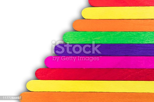 480762174istockphoto Wooden Popsicle Sticks Color full On a white background 1177264497